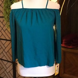 NWT Large Gianni bini GIRLS off shoulder top teal